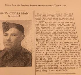 Newspaper extract reporting the death of LCpl RS Clarke