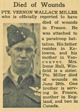 Newspaper Obit Pte V W Miller