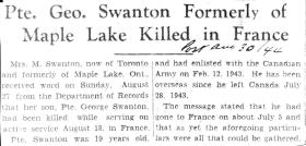 George A Swanton Newspaper Obituary