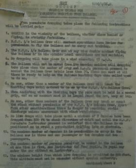 1st Parachute Battalion War Diary Appendix 3 Balloon Training Nov 41