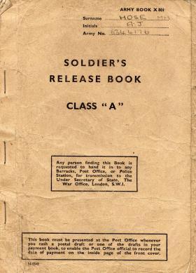 Release book for pte. aj hose