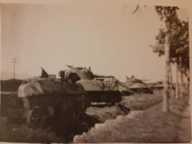 Knocked out Sherman tanks on the Cassino road