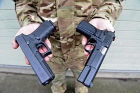 Glock 17 9mm  Pistol with Browning Hi Power 9mm pistol
