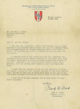 Bronze Star citation letter sent to parents  Kenneth Edney