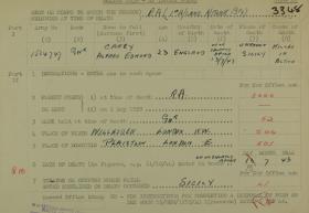 Gnr Alfred E Carey 1939-45 death entry form