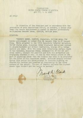 Letter from Gen MW Clarke USA