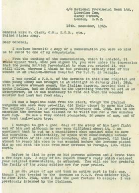 Letter from Lt Col Rocke to Gen MW Clarke US Army