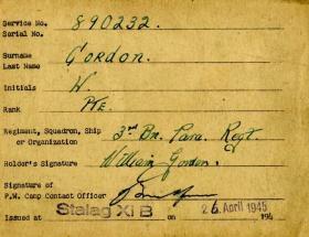 Stalag xib POW Card