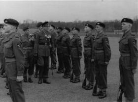 Passing out parade, Lt Col G Pine Coffin inspecting 40 Pln, Aldershot 1955