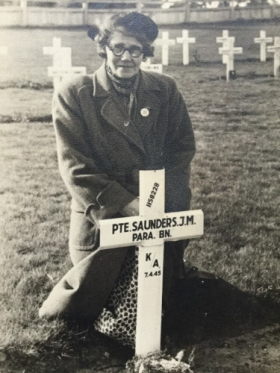 Gertrude Laura Saunders by Grave of Pte JM Saunders