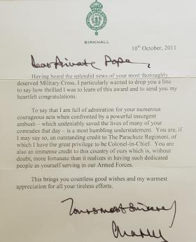 Letter from Prince Charles to Alfred Pope