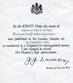 Capt EM Wyss MiD Citation London Gazette