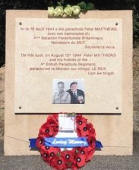 Plaque dedicated to Peter Matthews at 4 Para Bridge in Le Muy