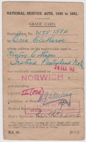 Eric Clitheroe National Service Grade Card