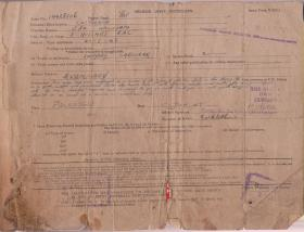 Eric Clitheroe 3rd Hussars Document