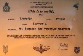 Jump certificate for Pte Sparrow