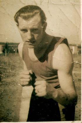 Pte WA Lane boxing in North Africa