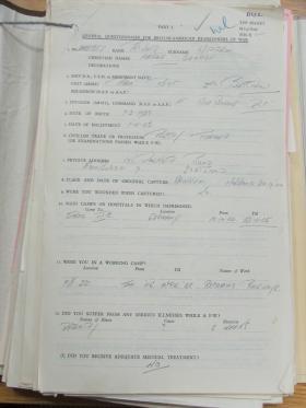 Cpl Applin POW Questionnaire