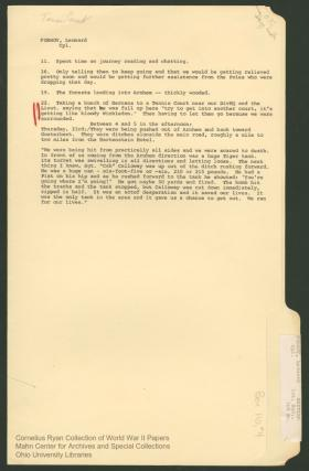 File from Cornelius Ryan collection regarding the death of Sgt HL Callaway