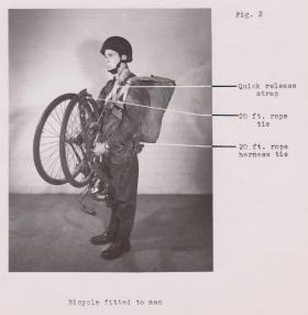 Folding push bike, rigged for parachuting, 1944