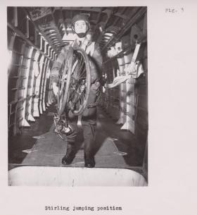 Folding push bike, rigged for parachuting as emplaned, 1944