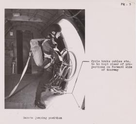 Folding push bike, for parachuting, ready to exit, 1944