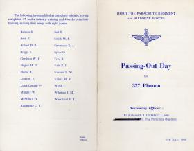 Passing Out Parade leaflet for Platoon 327
