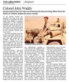Col John Waddy The Times Obituary