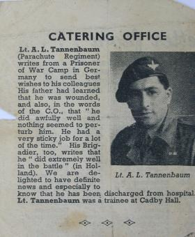 Lt Albert L.Tannenbaum newspaper article