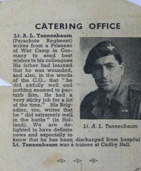 Lt Albert L.Tannenbaum newspaper article