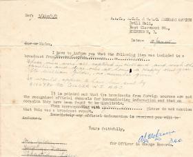 WJ Gilder letter from AAC noting that he has featured in a German propaganda film