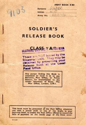 Army Release Book for WJ Gilder