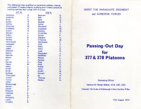Passing Out Parade leaflet for Platoons 377 and 378 March 1972