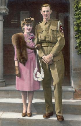 Bernard A Cummins on his wedding day 8 April 1944