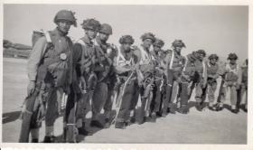 Members of A Coy 9th Bn, Palestine 1947 preparing to Emplane