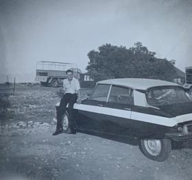 Michael with Citroen DS in Dhekelia, April 1963.