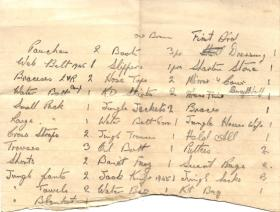 Handwritten Personal Kit List by Sigmn Foley R.L for Java 1946