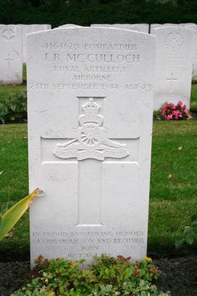 Headstone of JB McCulloch, Oosterbeek, 2009