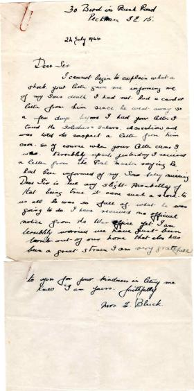 Letter from the mother of Pte H. Bluck to Major Parry