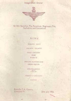 Inauguration dinner menu 21 July 1956