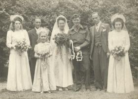 Reg Foley and Nellie Tuckey on their wedding day, 9 June 1945, Romford