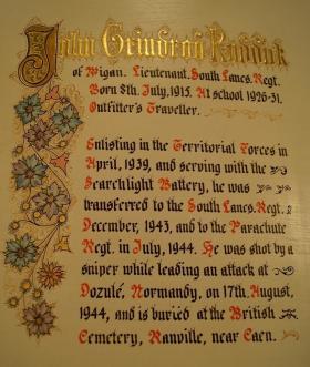 Ashton Grammar School's Roll of Honour for Lt Ruddick