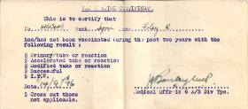 Vaccination Certificate to Sigmn Foley R.L 14 Sept1946.