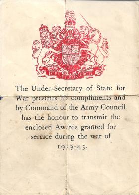 Army Council Medal Box Transmittal Slip. Sigmn Foley R.L  Side 1
