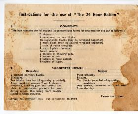 Instructions for the use of the  24hr Ration Pack