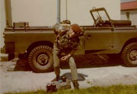 Erwin Haley with free fall kit and Land Rover