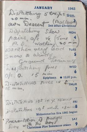 Extracts from a diary owned by Sgt S David