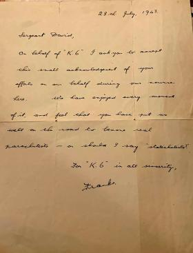 Letter from K6 to Sgt David 28 July 1943