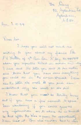 Letter from Mary Witson to Major Parry about the death of her fiance P. F. Walter