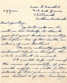Letter from J. Mander's sibling to Major Parry about the death of J. Mander